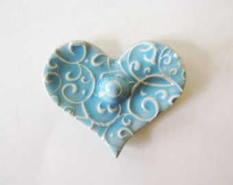 Heart Shaped Ring Holder, Ring Dish, Ring Bowl, Light Blue, Ready to ship
