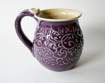 Scrolls and Vines Mug - glazed in Plum - textured mug - hand built