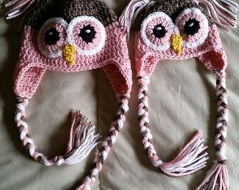 hand crochet Baby Owl Hat, Photo Prop, baby girl hat baby shower gift newborn hat animal hat  ~ owl baby girl ~  pink taupe  - made to order