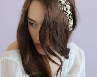 Bridal hair vine - Timeless floral and crystal hair vine - Style 622 - Ready to Ship