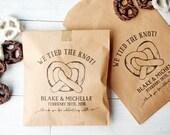 Pretzel Favor Bag - We Tied the Knot - Kraft Favor Bags - Chocolate Covered Pretzels - Treat Bags - 25 Bags