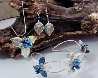 Blue Fairy Jewelry Set Bracelet Necklace Earrings - Fairytale - Woodland - Boho Wedding Something Blue