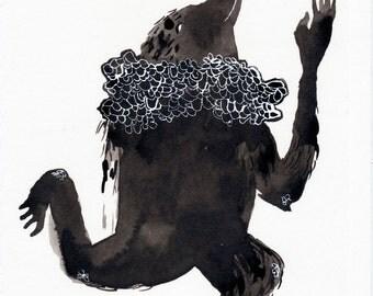 Dancing Black Bird Original / ink drawing