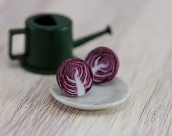 Red Cabbage Studs / Post Earrings