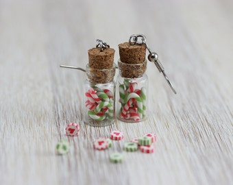 Classic Christmas Candy Canes Jar Earrings