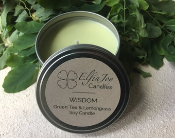 Green Tea & Lemongrass WISDOM Soy Container Candle