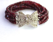 Sparkling Mozambique Garnet, Vintage Rhinestone Clasp EIGHT Strand Bracelet..