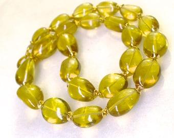 Luminous Oro Verde Lemon Quartz Polished Nugget Byzantine Necklace...