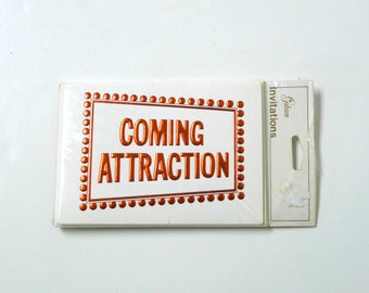 COMING ATTRACTION . Gibson Greeting Cards party invitations with envelopes . set of 8 . made in USA