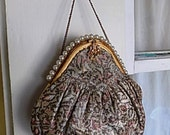 Vintage Silk Brocade Fabric French Made in France Purse