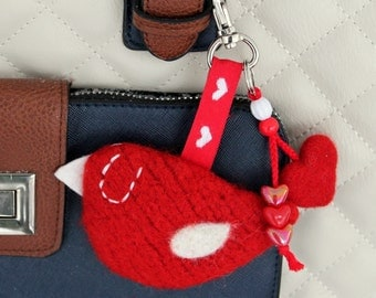 Bag charm key fob keyring knit needle felted red birdie bird heart beads