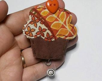 Cupcake Badge Reel, Cupcake Badge Card Holder, Fall, Autumn,Cupcake, ID Holder, Nursing Name Badge Holder, Badge Reel, Retractable,RTS
