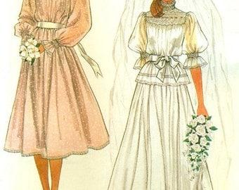 McCall's 7893 BRIDE BRIDAL PARTY Wedding Dress Smocked Bodice Gown & Slip Jann Johnson ©1982