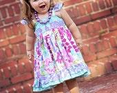 Girls Flower Dress- Girls Spring Dress- Girls Lavender Dress