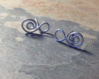 spiral studs. sterling silver wire infinity spiral studs