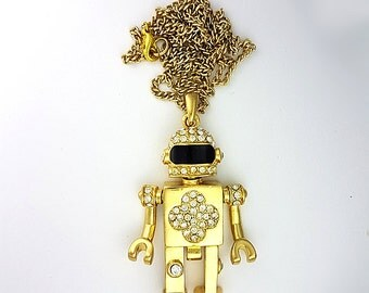 Gold Crystals Robot Necklace, Littlebot Necklace, Science Necklace, Bot Neckace by Aldesigns Jewelry
