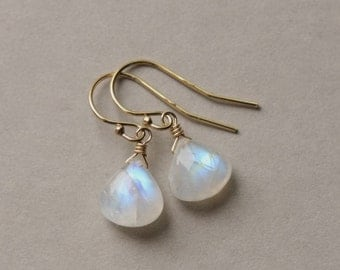 Rainbow Moonstone Earrings, Gold Moonstone Jewelry, Bridal Jewelry, June Birthstone, Moon stone Jewelry, Moonstone Teardrop, Jewelry Gift