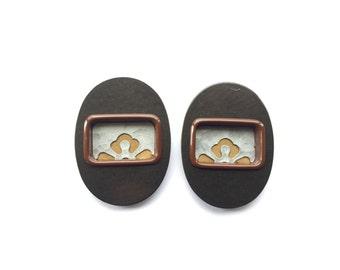 Japanese Door Pulls - Sliding Door Pulls - Pocket Door Pulls - Japanese Vintage Door Pulls Flower Set of 2 Gold Brown Silver (DP2C) S Size