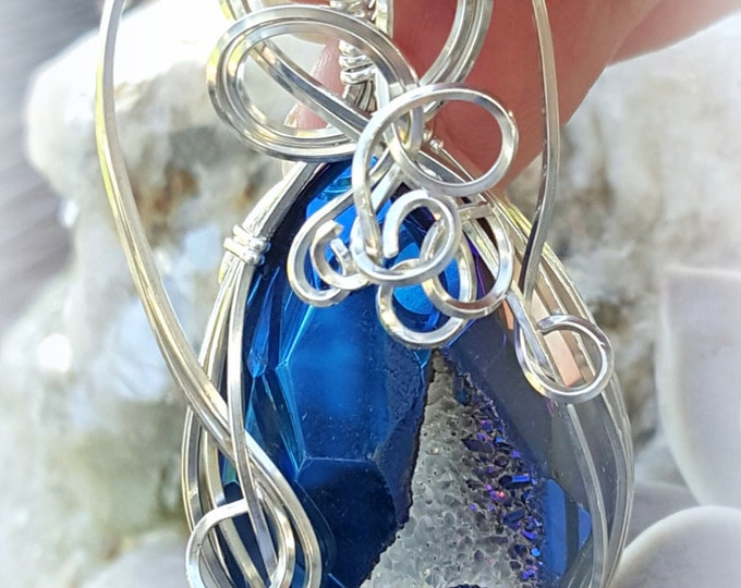 Elegant, Faceted, Blue Druzy Pendant, Wire-wrapped stone, Argentium Silver, Wire-wrapped Pendant, Organza Ribbon