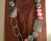 Pink Howlite and Gray Agate Slice Necklace - Asymmetrical, Funky, Artsy, Natural, Unique, Sterling Silver, Gold, Wedding, Free Gift