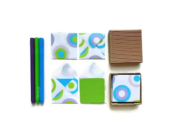 Color Dots Cute Stationery Set, Blank Note Cards, Greetings, Thank You, Colorful, Small Square Envelopes, Gifts Tags Under 10, Paper Goods