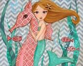 Mermaid Decor - Mermaid Art - Children's Mermaid Art- Mermaid - Mermaid Print- Art Print Sizes 5x7or 8x0  (Brunette) by HRushton