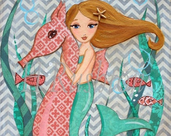 Mermaid Decor - Mermaid Art - Children's Mermaid Art- Mermaid - Mermaid Print- Art Print Sizes 5x7 or 8x0 by HRushton
