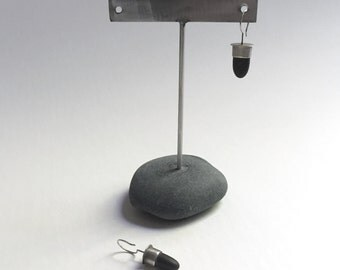 Post or Ear Wire Earring Display T Rack Holder Natural Lake Erie Beach Stone Stainless Steel Rock Jewelry Stand e
