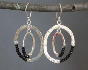 Black Spinel Earrings, Interlocking oval Earrings, Large Hoop Earrings, Oval Dangle