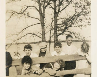 vintage photo 1920 Group of People in and Around the Fence on the LAke