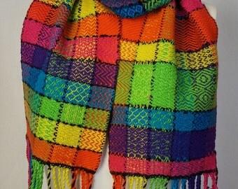 Handwoven Rainbow Twill Scarf - Luxury Merino Wool