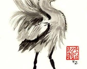 Heron Stance Sumi Painting Original - Wall art, Great Blue Heron, Crane, Ink, Japanese, OOAK, asian decor