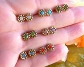 Vintage Swarovski Stud earrings, Post Earring, Brass Studs, Gift For Her, Tiny, Minimalist, Dainty Earrings, Retro Stud Earrings