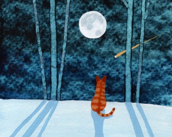 Orange Tabby Cat Folk Art print by Todd Young painting Snowy Forest
