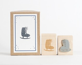 Ice Skate Rubber Stamp Hand drawn Swedish Style