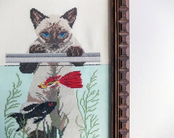 "Cat Embroidery. Large Vintage Framed Embroidered Picture. Siamese Cat, Aquarium Fish. 20"" x 11"" Tall Narrow Wall Art for Kitty Lovers."