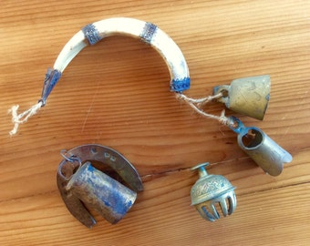 Brass Bells. India Brass Bells. Etched Brass Bell, Hammered Brass Bell, Ethnic Bohemian Bell Hanging with Boar's Tooth. Rustic Ethnic Decor.