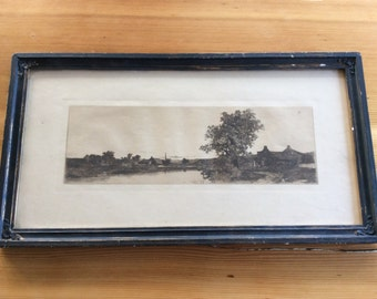 Antique Drypoint Etching, 1901. Framed Landscape, Black Ink. Published by James Tyroler. Ready to Hang Wall Art. Farmhouses, Trees, River.