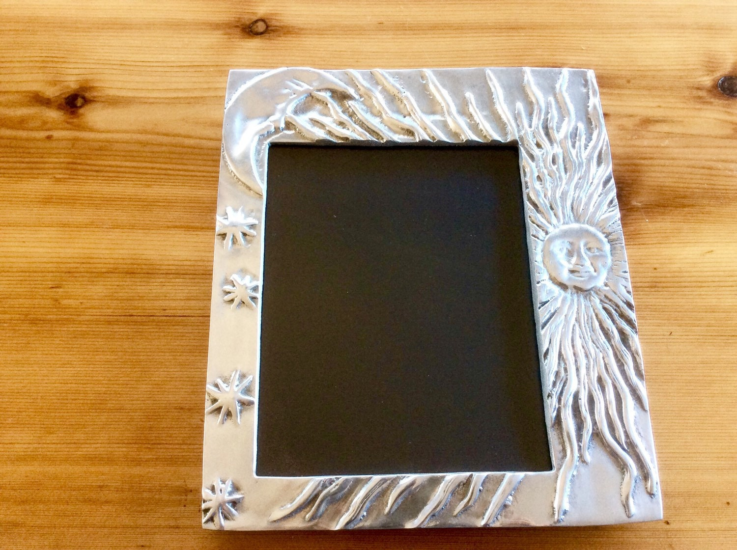 large mexican pewter picture frame sun moon fits 8 5 x 11. Black Bedroom Furniture Sets. Home Design Ideas