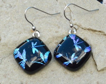 Dichroic Glass Drop Earrings Sterling Silver Wires Blue Purple Pink Shimmering Iridescent Dragonflies Pattern on Black Diamonds - Gift Boxed