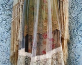 Beige tulle  dress tea stained roses  cotton  crochet vintage  bohemian romantic small by vintage opulence on Etsy