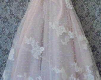 Blush wedding  dress lace embroidery ivory cream floral by vintage opulence on Etsy