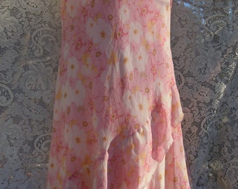 Pink flapper dress silk floral 80s does 20s Gatsby lawn party small from vintage opulence on Etsy