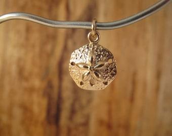 Gold Sand Dollar Charm, Natural Bronze Sand Dollar, Beach Charm, Sealife Charm for Making Jewelry Round Pendant (Ch 741b)