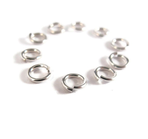 6mm Open Rings, 10 Hard Snap .925 Sterling Silver Jump Rings, 18 Gauge, Jewelry Findings, Connectors, Strong, Small Rings (H-SJH2)