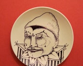 hand painted plate,sandy mastroni,Pierot clown,Circus art, Carnival, original white plate, stipple,unique wall art, black white illustration