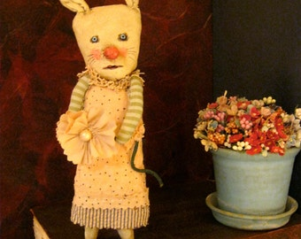 rabbit art doll , sandy mastroni, detailed stitching, fabric flower, ticking,nursery art, rabbit collector, whimsical wall art ,shelf art,