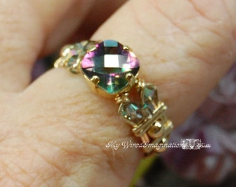 Rainbow Mystic Topaz, Handmade Ring, Checkerboard Faceted Cut, Hand Crafted Wire Wrapped Ring, Fine Jewelry, November Birthstone