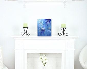 Blue Waterlily Art Print, Flower Artwork, Mini Art Print, Modern Wall Art, Office Wall Art, Coworker Gift, Art Lover Gift