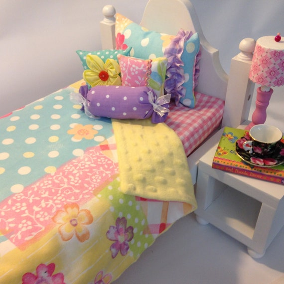 How To Make A Doll Decorative Pillow : Bedding for 18 in Doll 5pc Set Decorative Pillows n
